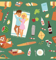 barbecue resting picnic couple and seamless vector image