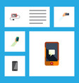Flat icon phone set of chatting smartphone vector image