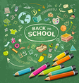 hand drawn education icons and colorful pencils vector image