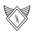 shield security winged outline empty vector image