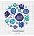 Technology hand drawing integrated sketch icons vector image
