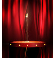vintage metal microphone on stage with red curtain vector image