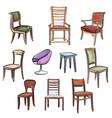 furniture set interior room furnishing chair vector image