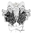 Beautiful woman with long hair and horns vector image vector image
