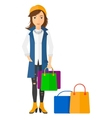 Buyer with shopping bags vector image