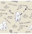 Seamless texture with cute puppies vector image