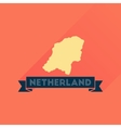 Flat icon with long shadow Netherlands map vector image