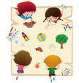 kids drawing on big paper vector image