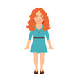 redhead girl in blue dress vector image