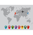World map with country flag pins vector image