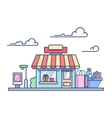 Shop building isolated on cloudy sky vector image vector image