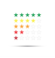 Set of red orange yellow and green rating stars vector image vector image