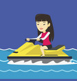asian woman training on jet ski in the sea vector image vector image