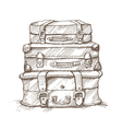Hand drawn stack of suitcases vector image