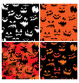 Set of Halloween seamless patterns with pumpkins f vector image vector image