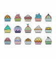 cupcakes icons vector image