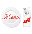 menu with platefork and knife in envelope vector image vector image