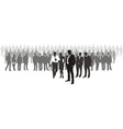 People with network boss on front vector image vector image