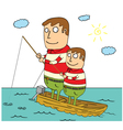 Father and son fisihing vector image