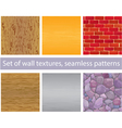 Set of different wall textures - seamless patterns vector image vector image