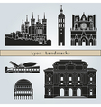 Lyon landmarks and monuments vector image