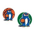 Cartoon blue owl character with basketball ball vector image