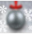 Defocused silver christmas ball vector image