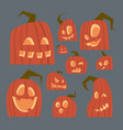 different pumpkins faces icons set happy halloween vector image