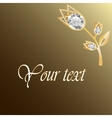 Gold jewelry background with diamond brooch vector image