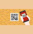 hand holding smart phone scanning qr code vector image