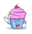 okay cupcake character cartoon style vector image