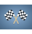 Two crossed checkered racing flags in flat style vector image