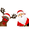Snowman and Santa Claus look out the side vector image