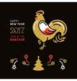Card 2017 Happy New Year Stylized rooster Holiday vector image
