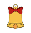 color image bell with red bow ribbon vector image