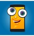 smart phone mobile big eyes character cartoon vector image