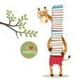 Cartoon giraffe holding a pile of books vector image