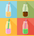 juice in a bottle icon set flat icon with long vector image