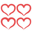 set of brush heart icon handmade drawing label vector image