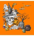 Vintage Halloween Invitation Card with Skull vector image