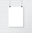 White poster on brick wall vector image