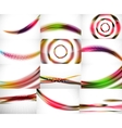 Set of blurred flowing waves backgrounds vector image
