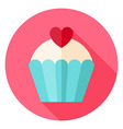 Cute Lovely Cupcake with Heart Circle Icon vector image