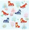 Seamless pattern of winter forest with foxes betwe vector image