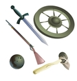 Collection of medieval and primitive weapons vector image