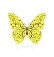 Beautiful yellow butterfly with floral pattern vector image