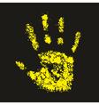 Grunge yellow handprint symbol conceptual vector image