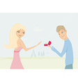 Happy young man making a proposal giving vector image