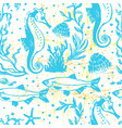 ink hand drawn sealife seamless pattern vector image