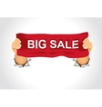 man holding a big sale banner in his two hands vector image